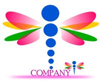 Drawing of a dragonfly company logo. stock illustration