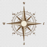 Vector Compass. Height Quality Illustration. Old Style. West, East, North, South. Wind Rose Simple  Royalty Free Stock Photo