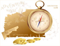 Vector compass and a map of treasures Stock Images