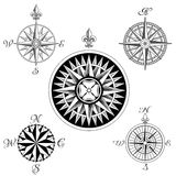 Vector Compass Rose Set. A set of five high detail antique windroses Royalty Free Stock Photo