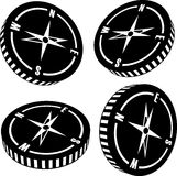 Vector compass silhouettes Royalty Free Stock Image