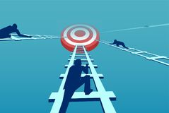 Vector of competitive businessmen climbing up a career ladder stock illustration