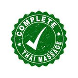Complete Thai Massage Grunge Stamp with Tick. Vector Complete Thai Massage scratched stamp seal with tick inside. Green Complete Thai Massage imprint with grainy vector illustration