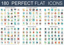 180 vector complex flat icons concept symbols of business project, economics market, education, online training, brain. Process, mind process. Web infographic Royalty Free Stock Image