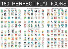 180 vector complex flat icons concept symbols of creative process, network technology, web development, video games. Cloud technology, 3d modeling. Web Stock Illustration