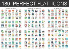 180 vector complex flat icons concept symbols of cyber security, network technology, web development, digital marketing. Electronic devices, 3d modeling icons stock illustration