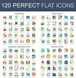 120 vector complex flat icons concept symbols of insurance, real estate, building construction, design tools. Web. Infographic icon design Stock Photos
