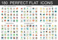 180 vector complex flat icons concept symbols of legal, laws and justice, insurance, banking finance, cyber security. Economics market, e-commerce. Web Royalty Free Stock Image