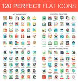 120 vector complex flat icons concept symbols of my workplace, creative process, mind process, human productivity. Web Royalty Free Stock Image