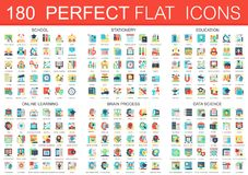 180 vector complex flat icons concept symbols of school, stationery, education, online learning, brain process, data. Science icons. Web infographic icon design Stock Image