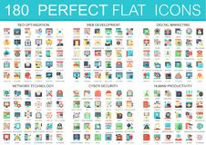 180 vector complex flat icons concept symbols of seo optimization, web development, digital marketing, network. Technology, cyber security, human productivity royalty free illustration