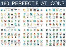 180 vector complexe vlakke symbolen van het pictogrammenconcept van bedrijfsproject, economiemarkt die, onderwijs, online, hersen stock illustratie