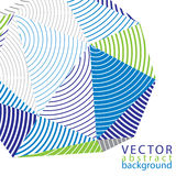 Vector complicated 3d backdrop, modern digital technology style. Form. Abstract stripy bright three-dimensional background Stock Images