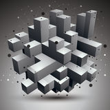 Vector complicated 3d figure, modern digital technology style fo. Rm. Abstract unusual background royalty free illustration