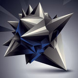 Vector complicated 3d figure, modern digital technology style fo. Rm. Abstract unusual background stock illustration