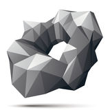 Vector complicated 3d figure, modern digital technology style fo. Rm. Abstract unusual gray three-dimensional object vector illustration