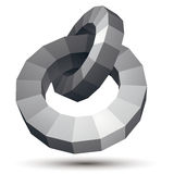 Vector complicated 3d figure, modern digital technology style fo. Rm, circles. Abstract unusual gray three-dimensional object stock illustration