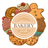 Vector composition with different types of bakery. Vector hand drawn colored composition with different types of bakery stock illustration