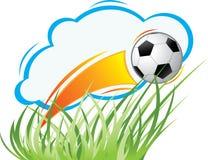 Vector composition on a football theme. Vector dynamical composition on a sports theme with a football, a grass and a cloud Stock Photos