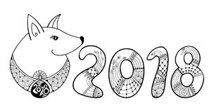Vector composition with outline dog and numbers 2018 in black isolated on white background. Contour symbol of Chinese New Year. Ornate dog and decoration for Royalty Free Illustration