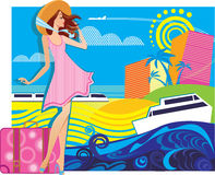 Vector composition of traveler woman in resort Stock Photos