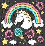 Vector composition with unicorn and rainbow on black background. Cartoon style cute character Royalty Free Stock Photography