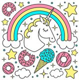 Vector composition with unicorn and rainbow Cartoon style cute character Royalty Free Stock Photos