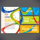 Vector composition of a wave of bands with different colors are intertwined including sport symbols. Concept brochure,page,leaflet, sport banners or ticket 2016 Stock Image