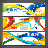 Vector composition of a wave of bands with different colors are intertwined including sport symbols. Concept brochure, web sites,page,leaflet,Design sport Royalty Free Stock Photo