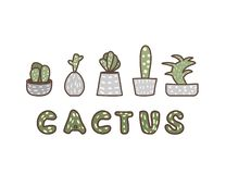 Vector compositon of doodle cactus design set. vector illustration