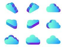 Vector computacional de los iconos de la nube plana isométrica en dif ilustración del vector
