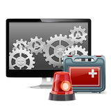 Vector Computer Emergency Support. On white background