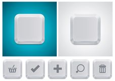 Vector computer keyboard button square icon. Detailed icon representing white computer keyboard