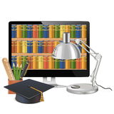 Vector Computer Library Concept. Isolated on white background stock illustration
