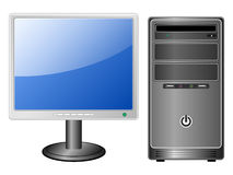 Vector computer and monitor. Front view Royalty Free Stock Photo