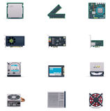 Vector computer parts icon set Royalty Free Stock Images