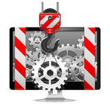 Vector Computer Repair with Crane. On white background Stock Photos