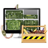 Vector Computer Repair with Toolbox Royalty Free Stock Photo