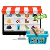 Vector Computer Shop with Basket royalty free illustration
