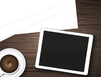 Vector computer tablet, coffee and blank page on Stock Image