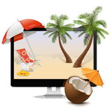 Vector Computer with Tropical Resort Stock Photo