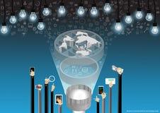 Vector comunicações empresariais com o projeto liso móvel avançado das lâmpadas e dos ícones da lente de aumento da tabuleta Imagem de Stock