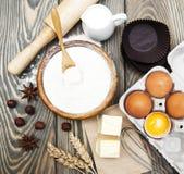 Vector con los ingredientes de la hornada Fotografía de archivo libre de regalías