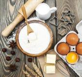 Vector con los ingredientes de la hornada Imagen de archivo libre de regalías