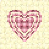 Vector concentric dot heart. Pixel-art rose heart on beige backdrop Royalty Free Stock Photography
