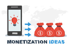 Vector concept abstract monetization ideas. Idea lamp on mobile screen and profit as miney in bags. Flat style. Infographics Stock Images
