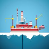 Vector concept of arctic oil and gas offshore industry. With stationary platform Royalty Free Stock Photography