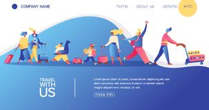 Vector concept banner with travelling people. Happy flat character with luggage, kids and bags. Landing page for vacation, buing. Avia tickets and travel agency royalty free illustration