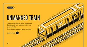Vector concept banner with unmanned electric train. On railway on yellow background. Automated transport, autonomous locomotive with autopilot for subway royalty free illustration