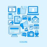 Vector concept - blogging and writing for website Stock Images